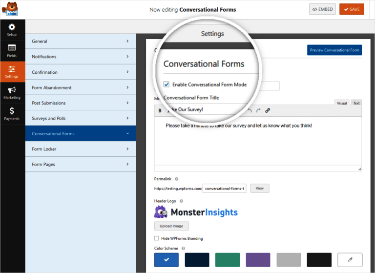 Editing a conversational form by WPForms