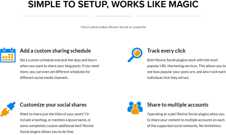 Here's what makes Revive Social the WordPress Marketing Plugin so powerful